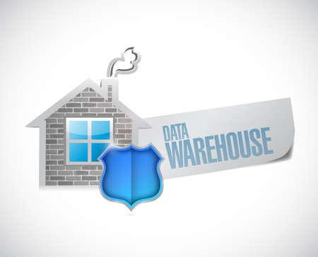 data warehouse: almac�n de datos signo ilustraci�n dise�o sobre un fondo blanco