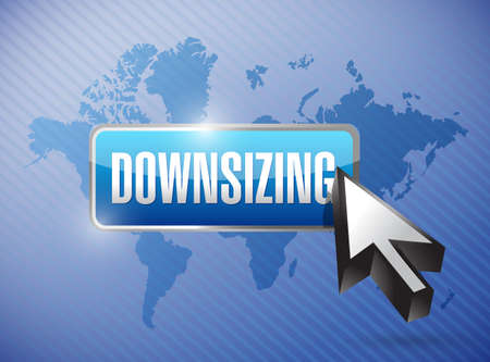 downsized: downsizing button button illustration design over a world map background Stock Photo