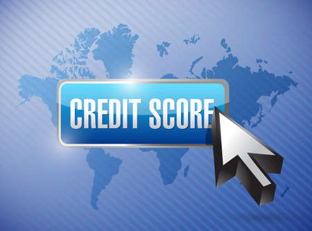 bank records: credit score button illustration design over a world map background Stock Photo