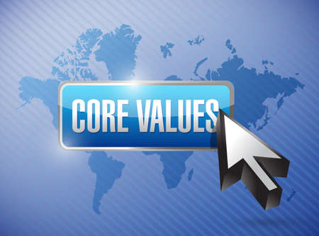 core strategy: core values button and cursor illustration design over a world map background