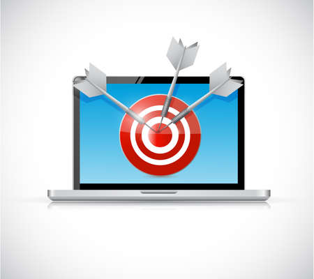 laptop and target illustration design over a white background illustration