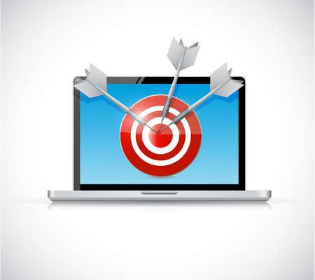 laptop and target illustration design over a white background