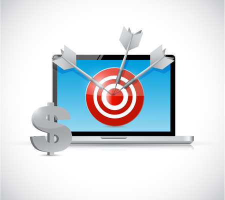 emarketing: dollar target and laptop business concept illustration design over a white background Stock Photo