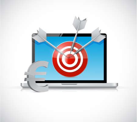 cpl: euro target and laptop business concept illustration design over a white background Stock Photo