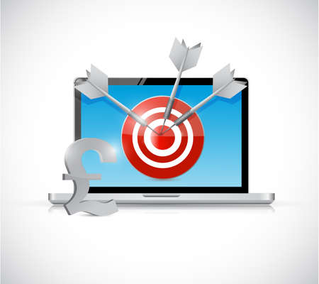 cpl: british pound target and laptop business concept illustration design over a white background