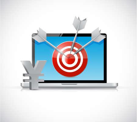 yen target and laptop business concept illustration design over a white background illustration