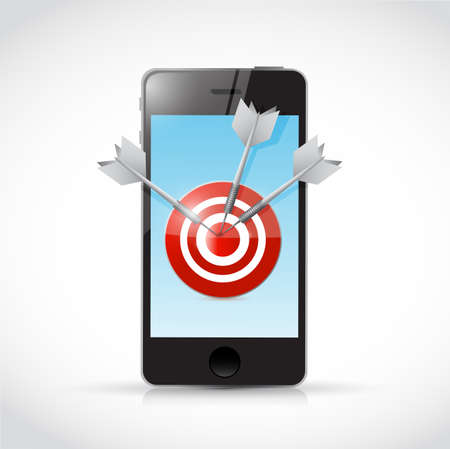 cpl: phone and target illustration design over a white background