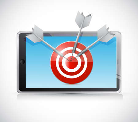 tablet and target illustration design over a white background illustration