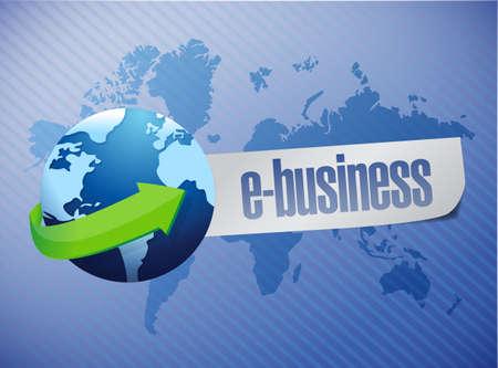 ebusiness: e-business globe illustration sign design over a world map background Stock Photo