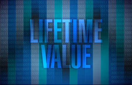 lifetime: lifetime value message illustration design over a binary background Stock Photo
