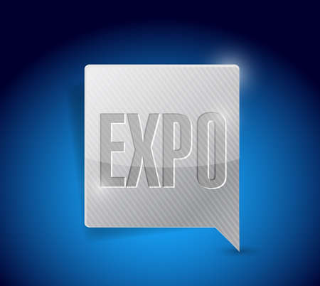 expo: expo message bubble illustration design over a blue background Stock Photo
