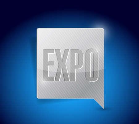 expo tekstballon illustratie ontwerp op een blauwe achtergrond Stockfoto