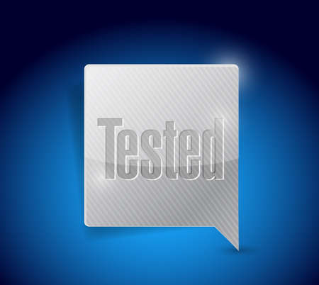 qualify: tested message bubble illustration design over a blue background Stock Photo