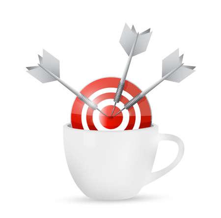 coffeecup: coffee mug and bullseye target illustration design over a white background