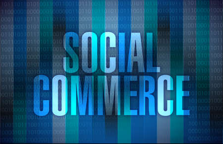 commerce: social commerce message illustration design over a binary background Stock Photo