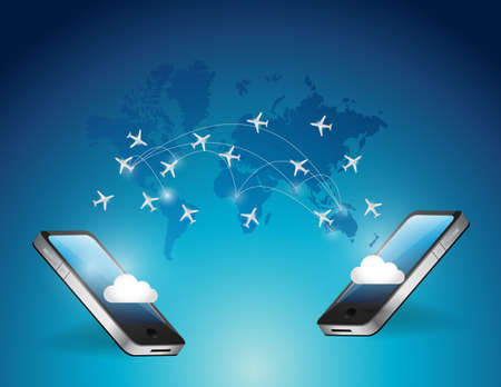 phones connected. international travel airplanes destinations. illustration design over a blue background illustration
