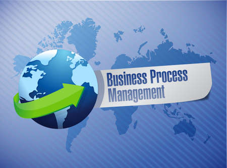 bpm: business process management globe sign illustration design over a world map background