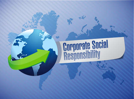 corporate responsibility: corporate social responsibility globe sign illustration design over a world map background