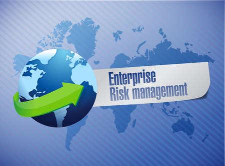 enterprise risk management globe sign illustration design over a world map background
