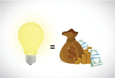 great ideas equal money illustration design over a white background Vector