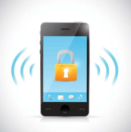 secure mobile online connection illustration design over a white background