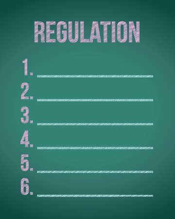 list of regulations illustration design over a chalkboard background