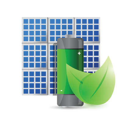 solar panel and eco battery illustration design over a white background Vector