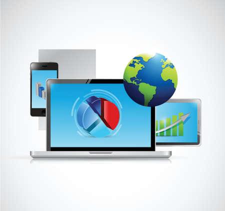ノート パソコンと家電のネットワーク接続。白色の背景上のイラスト デザイン