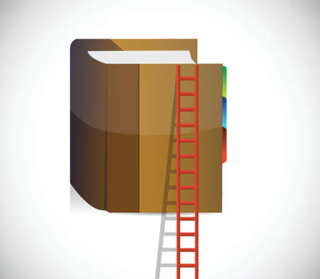 master page: ladder and book climbing concept. illustration design over a white background