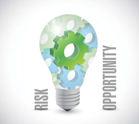 opportunity: rick and opportunity light bulb illustration design over a white background