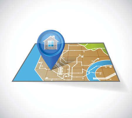 home gps map illustration design over a white background Vector