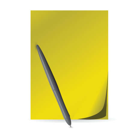 yellow paper and pen. illustration design over a white background