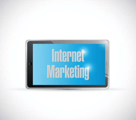 internet marketing tablet sign illustration design over a white background Vector