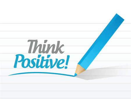affirmative: think positive message illustration design over a white background