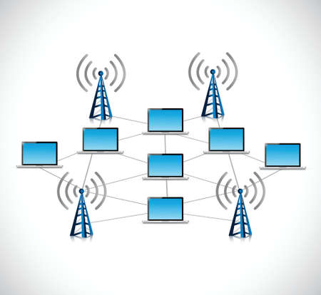 laptop connection network illustration design over a white background