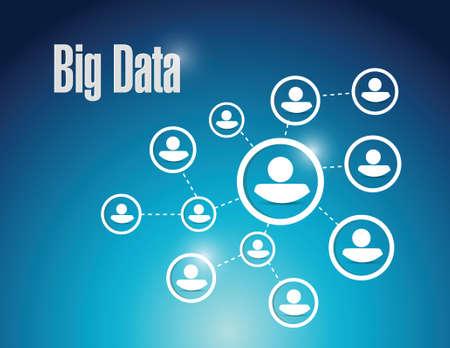 Big-Data-Netzwerk Kommunikationsdiagramm, Illustration, Design auf einem blauen Hintergrund