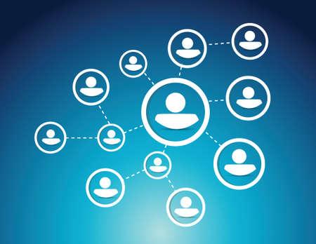 digital asset management: people network diagram illustration design over a blue background