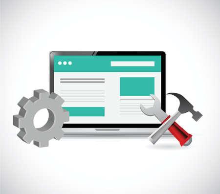 흰색 배경 위에 온라인 웹 사이트 및 도구 그림 디자인