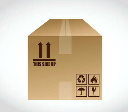 article marketing: this side up box illustration design over a white background