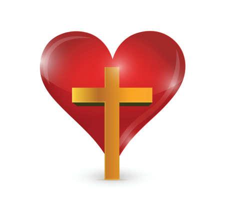 흰색 배경 위에 십자가와 하트 그림 디자인 일러스트
