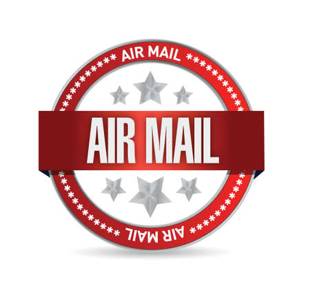 validate: air mail seal illustration design over a white background