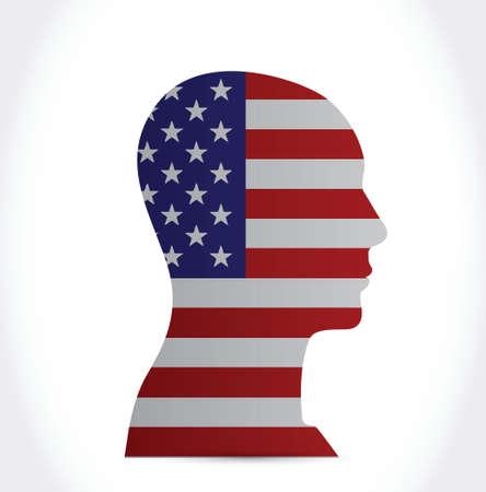gust: usa flag head illustration design over a white background Illustration