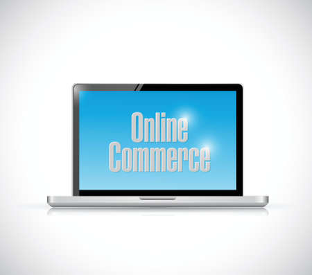 commerce: online commerce computer sign illustration design over a white background Illustration