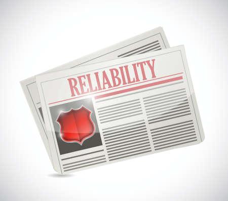 article marketing: reliability newspaper illustration design over a white background Illustration