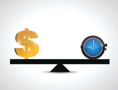 dollar and time balance. illustration design over a white background