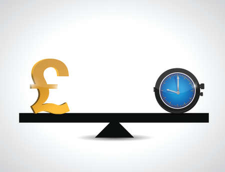 british pound: british pound and time balance. illustration design over a white background