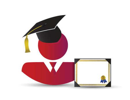 graduation avatar concept illustration design over a white background