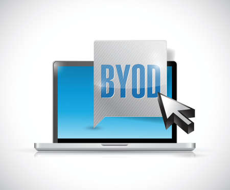 byod message and laptop illustration design over a white background