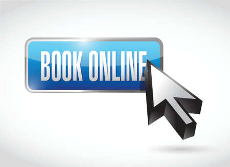 book online button and cursor. illustration design over a white background
