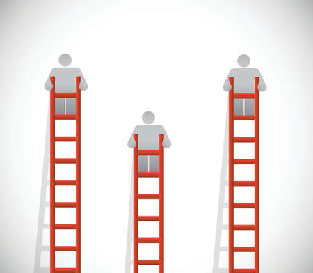 ladders and people going up. illustration design over a white background Vector